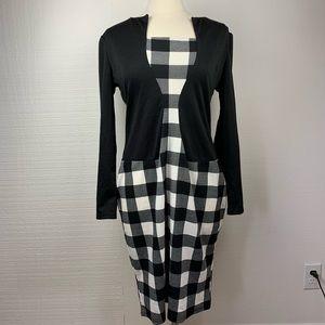 BabyOnline Dress Black White Plaid Long Sleeve NWT